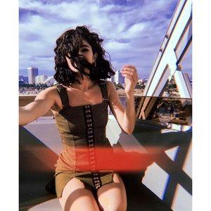 Dresses & Skirts - 🆕 Green Gingham Front Slit Bodycon Dress